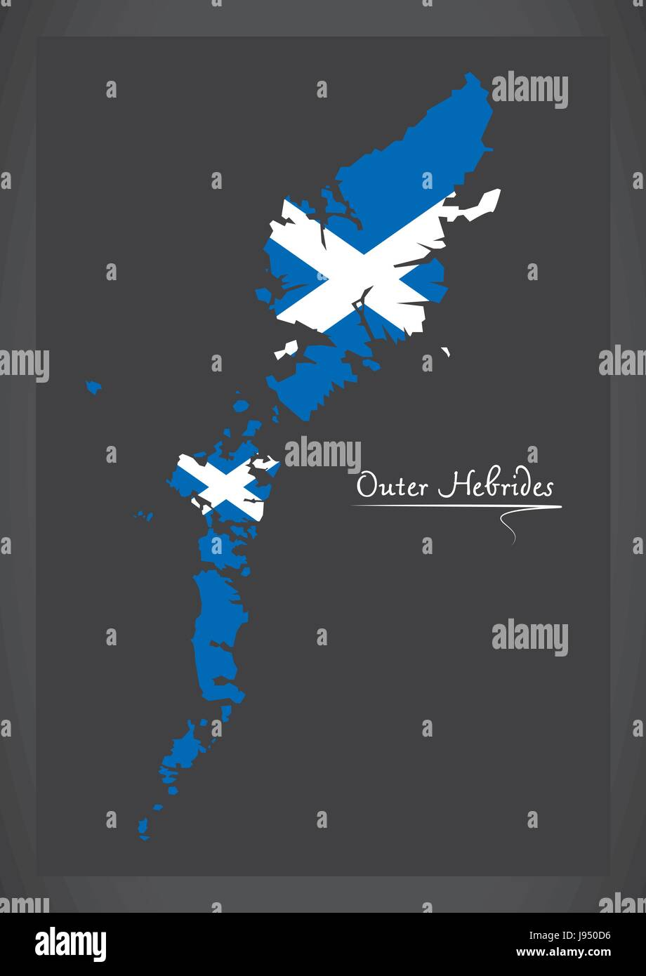 Outer Hebrides map with Scottish national flag illustration - Stock Vector
