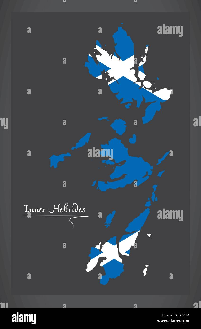Inner Hebrides map with Scottish national flag illustration - Stock Vector