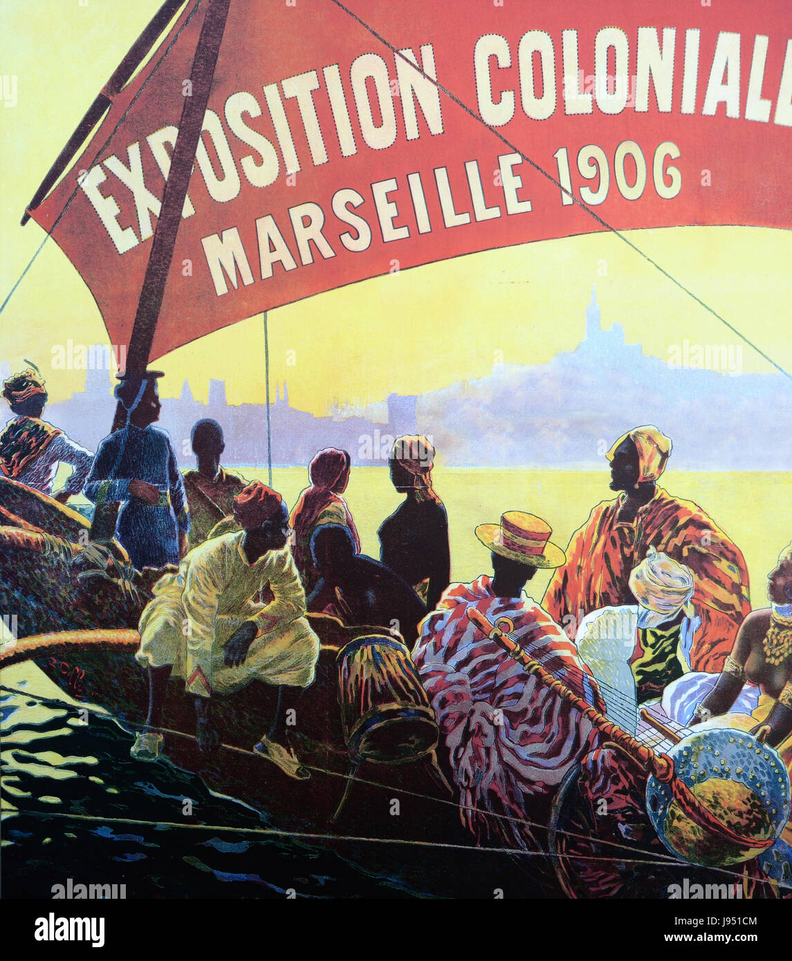 Vintage Advert for the Colonial Exhibition in Marseille 1906 France - Stock Image