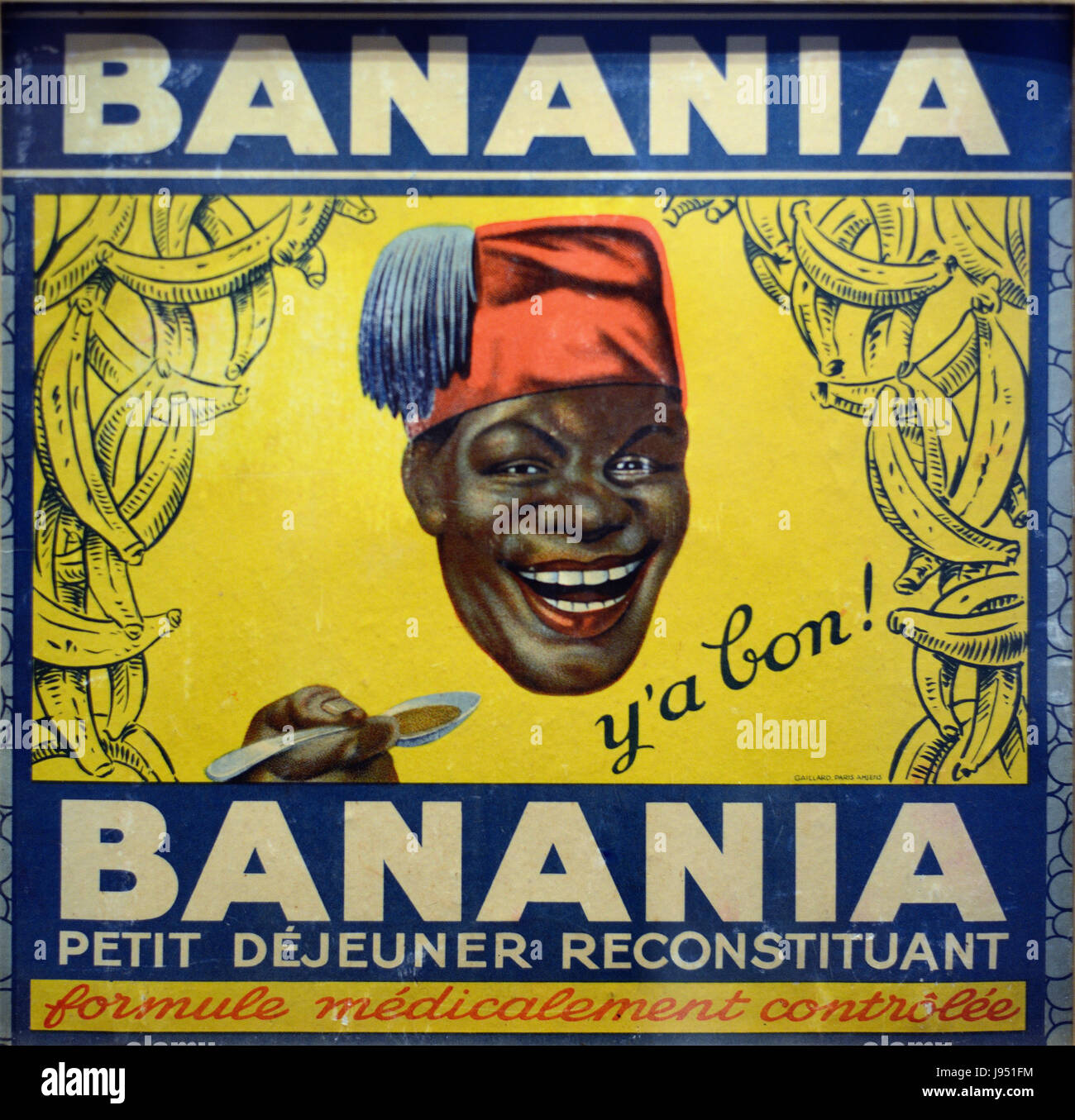 Vintage Advert for Banania Chocolate Drink with a Grinning Senegalese Tirailleur c1940 France - Stock Image