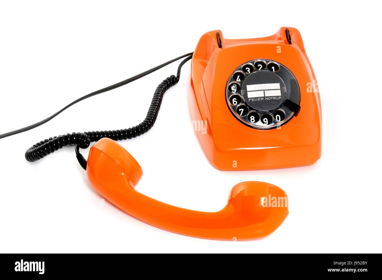 telephone, phone, historical, orange, old, telephone, phone, office, strategy, - Stock Image