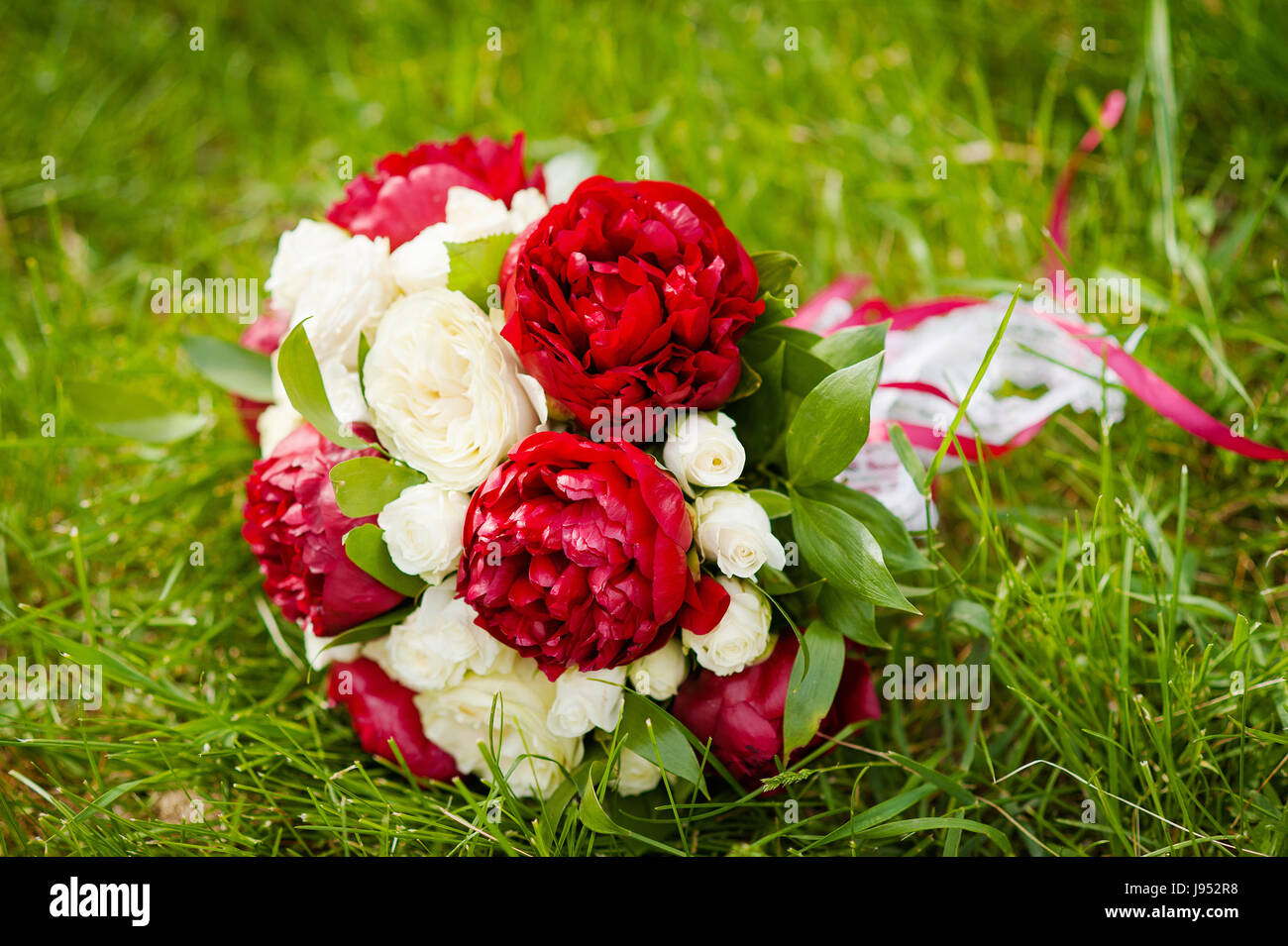Spring Wedding Bouquet From Burgundy Peonies And White Roses Wedding Stock Photo Alamy