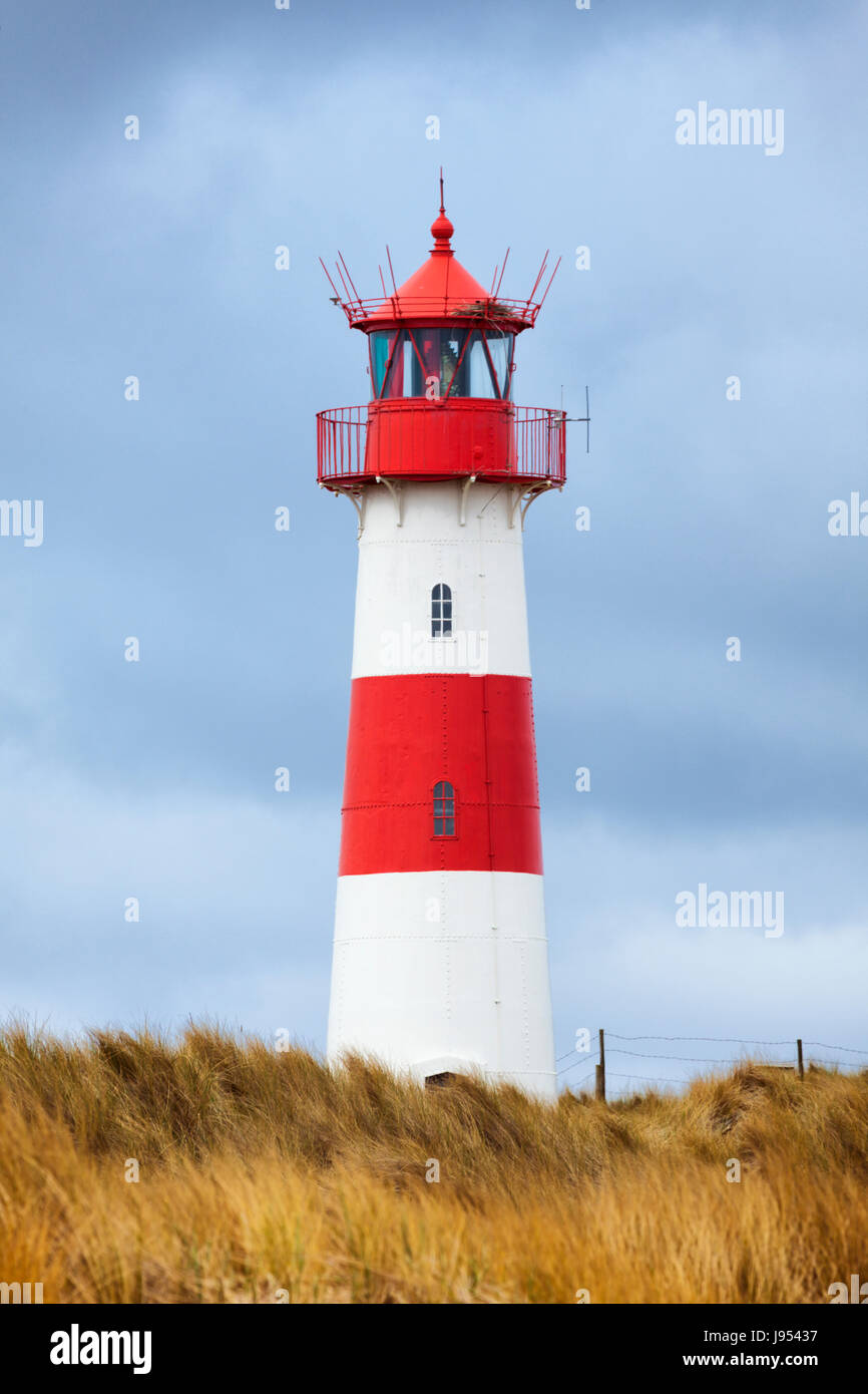 Eastern lighthouse on Ellenbogen peninsula, Sylt, Germany - Stock Image