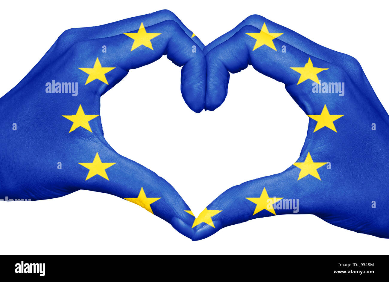 European union flag painted on hands forming a heart isolated on white background, europe concept - Stock Image