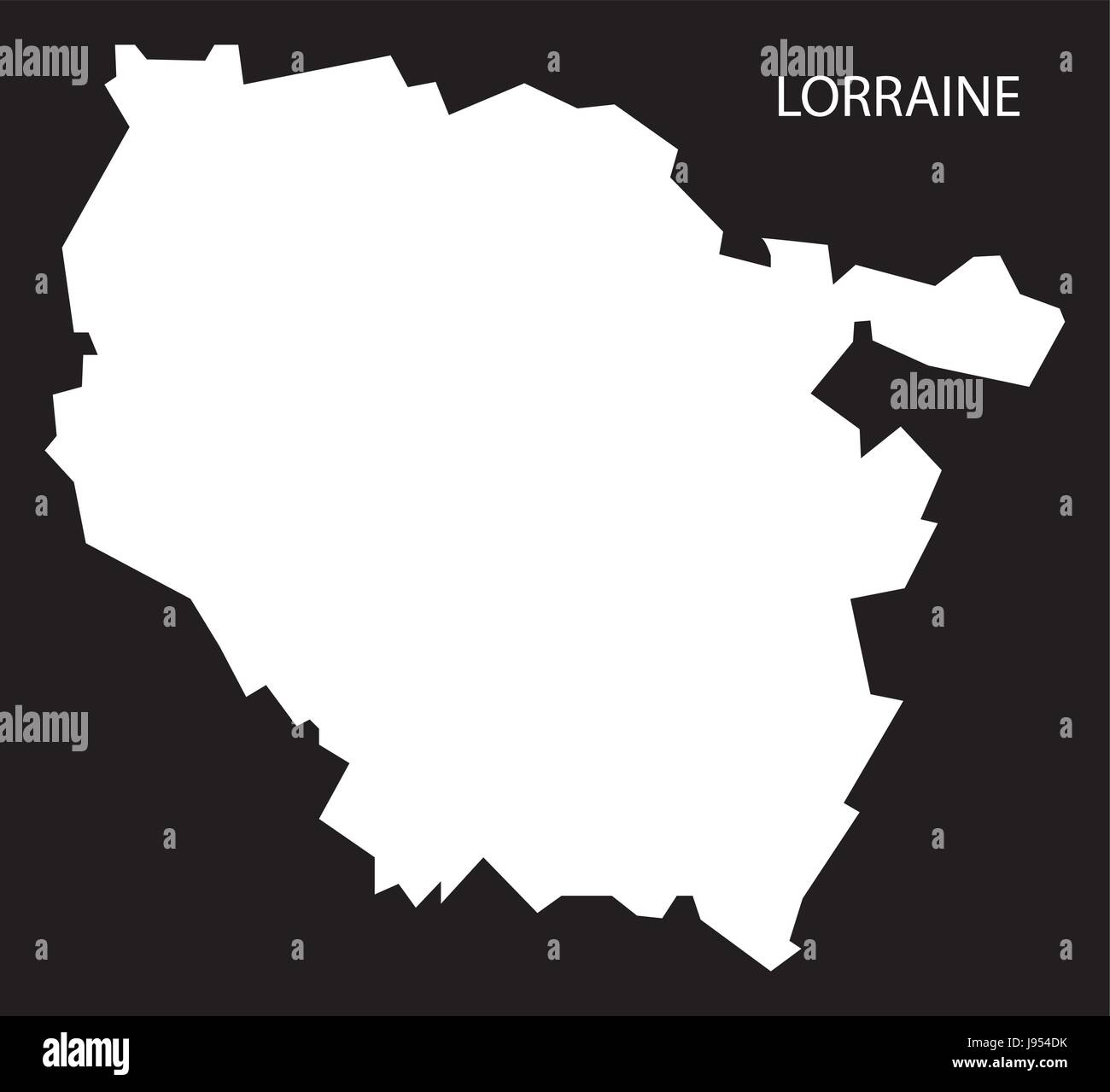 Lorraine France Map Black Inverted Silhouette Illustration Stock