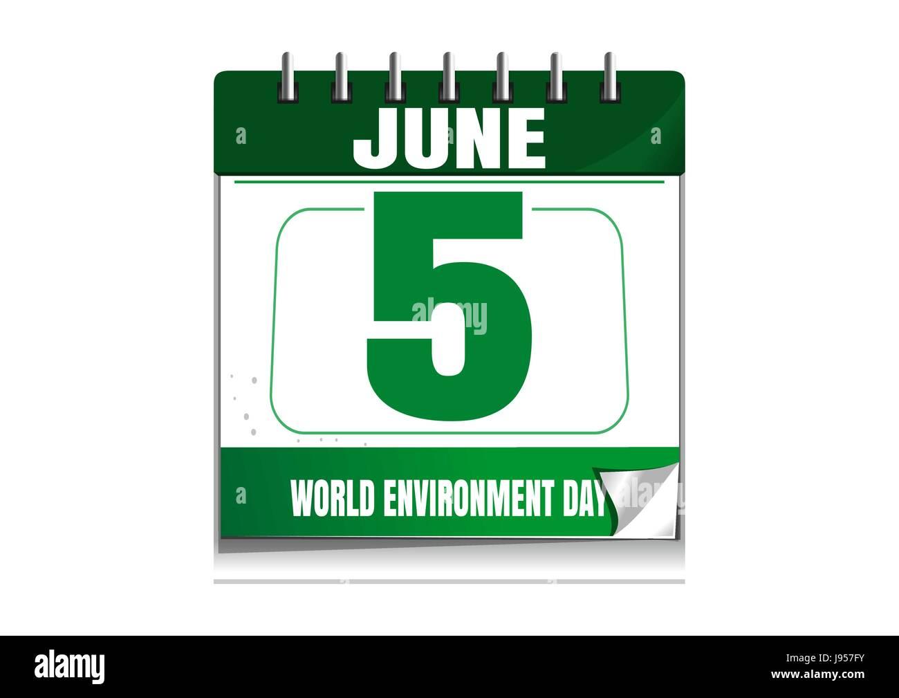 World Environment Day. Wall calendar. 5 June - Stock Image
