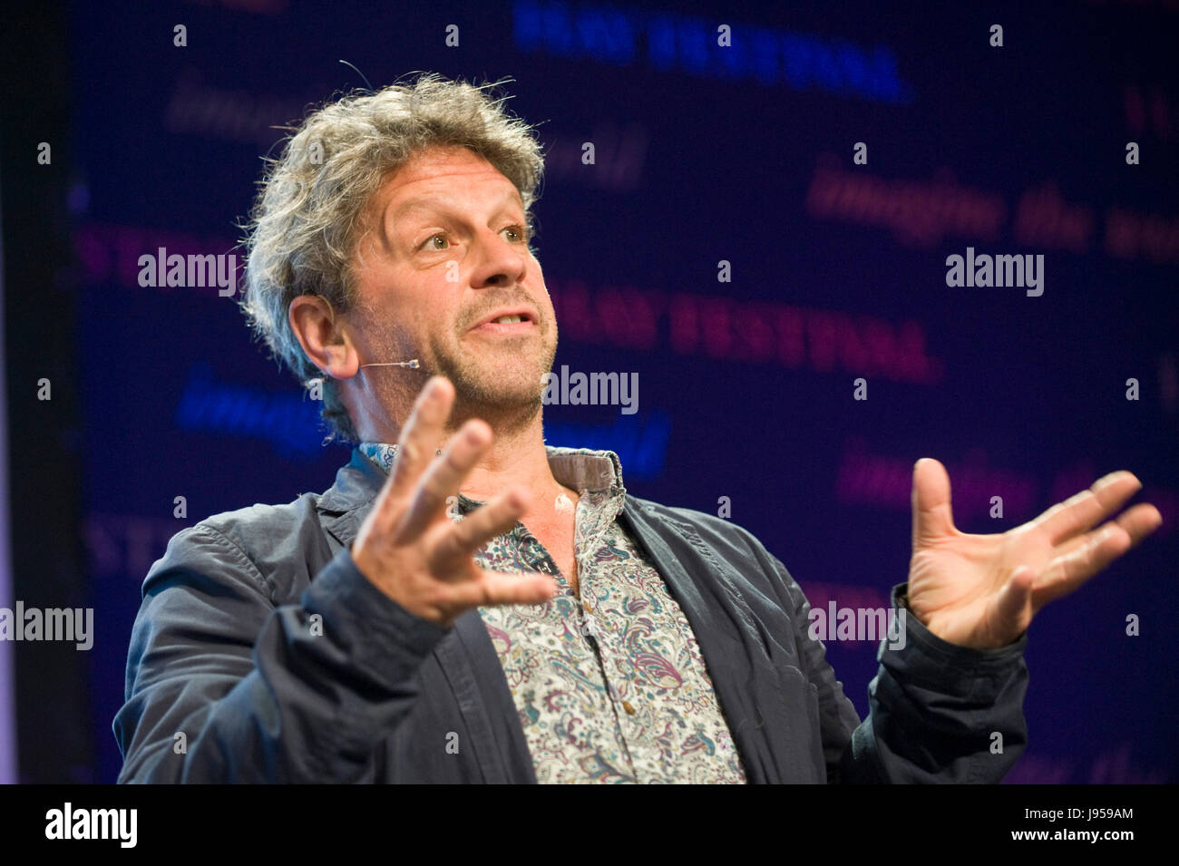 Volcanologist David M Pyle Professor of Earth Sciences at University of Oxford speaking on stage at Hay Festival - Stock Image