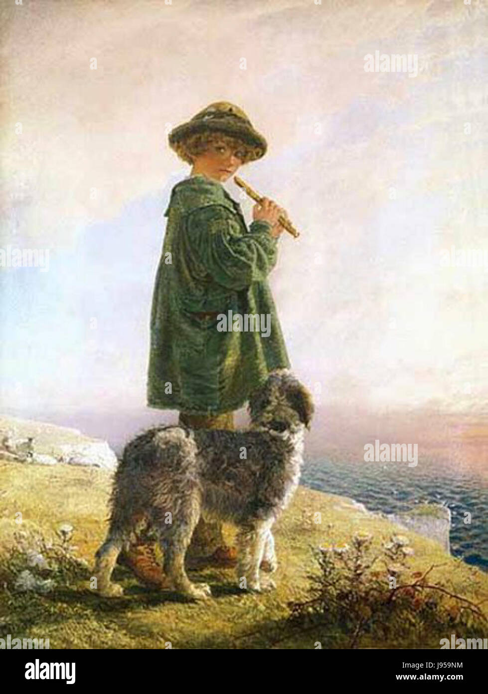 The Piping Shepherd by Alfred Downing Fripp - Stock Image