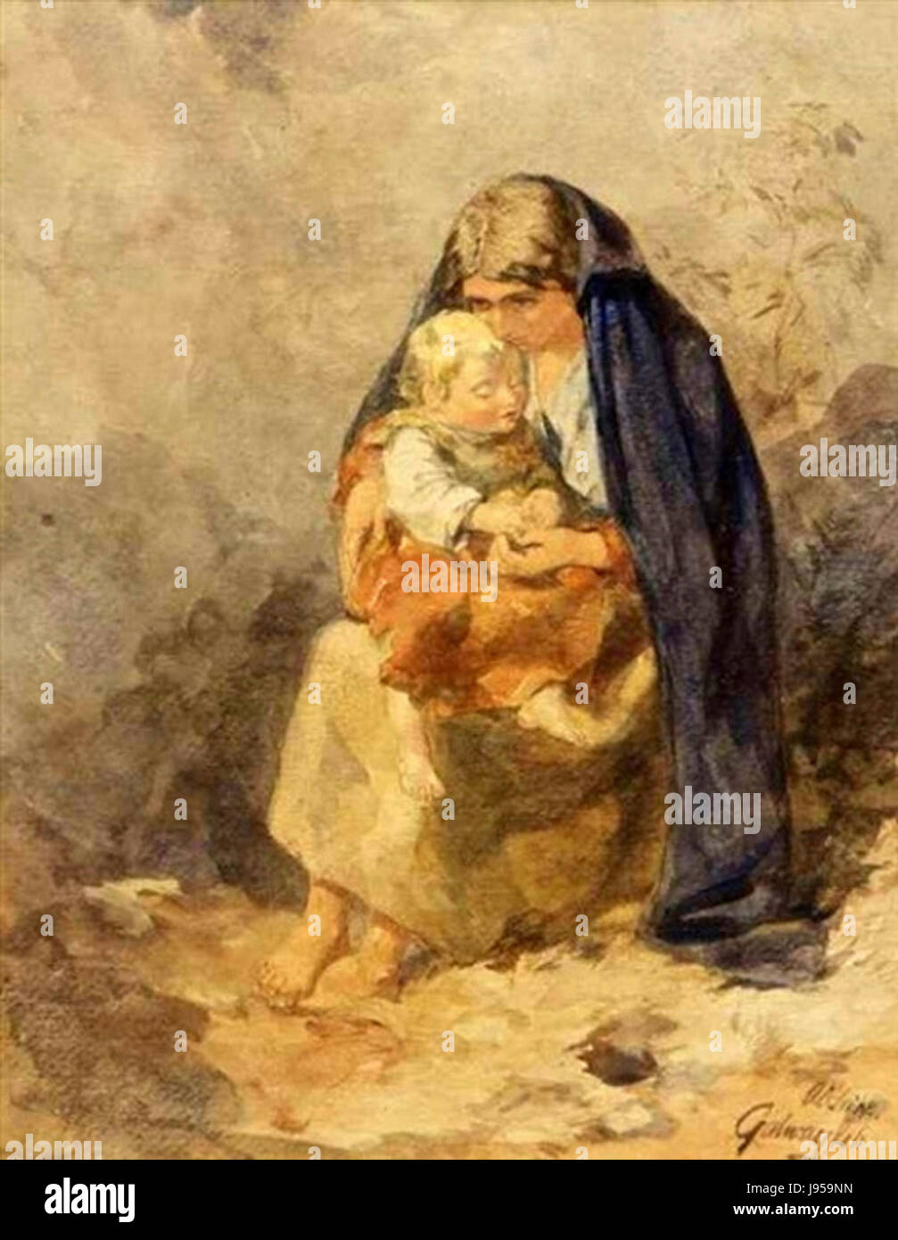 The Irish Mother by Alfred Downing Fripp - Stock Image