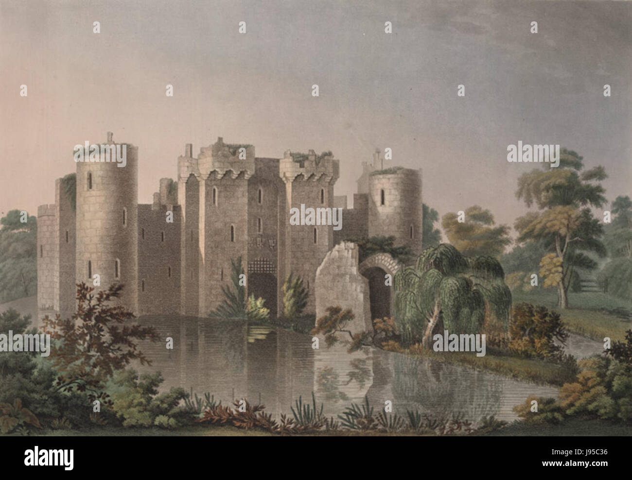 North east View of Bodium Castle by Francis Jukes 1799 Stock Photo