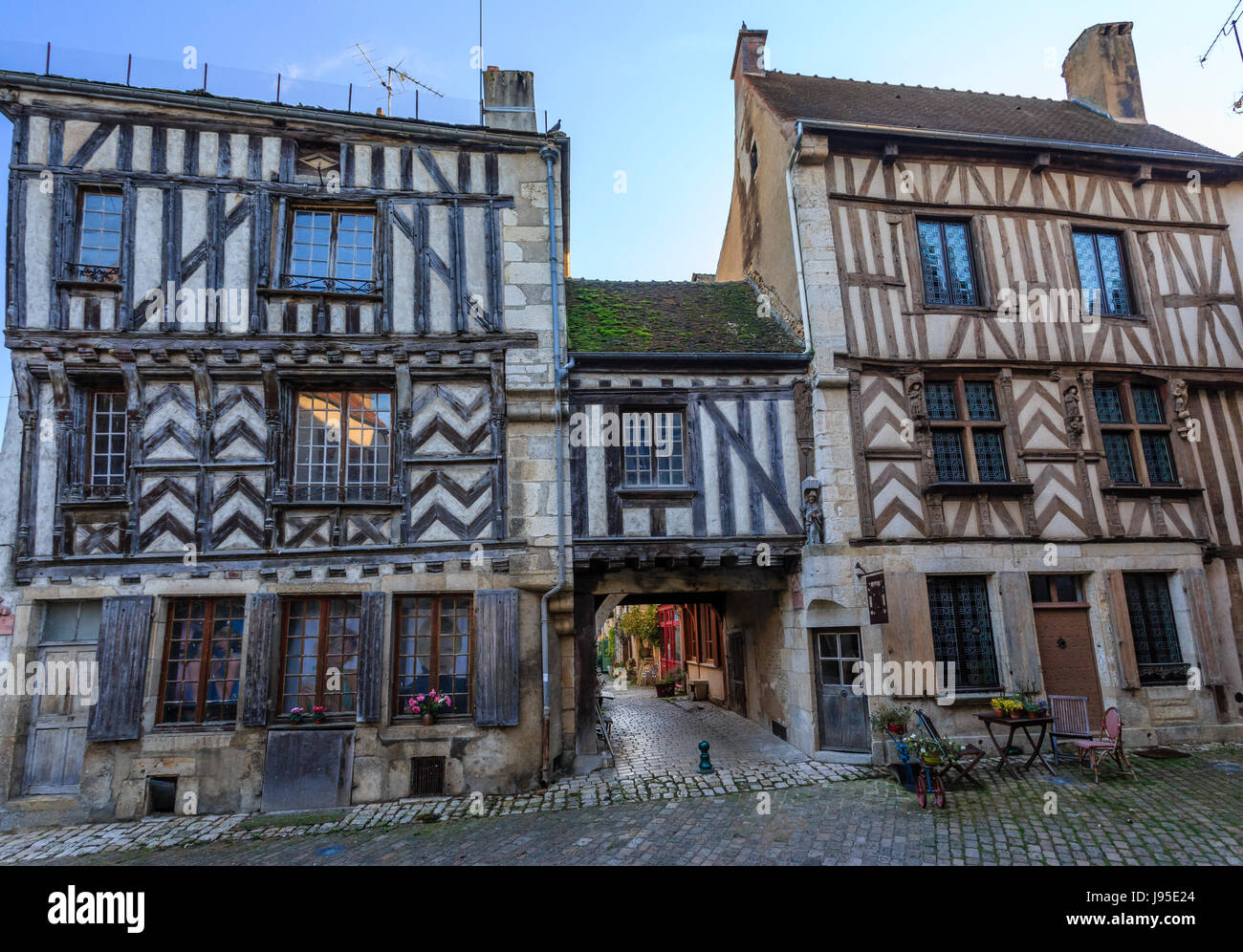 France, Yonne, Noyers or Noyers sur Serein, labelled Les Plus Beaux Villages de France, wood framed houses on the - Stock Image