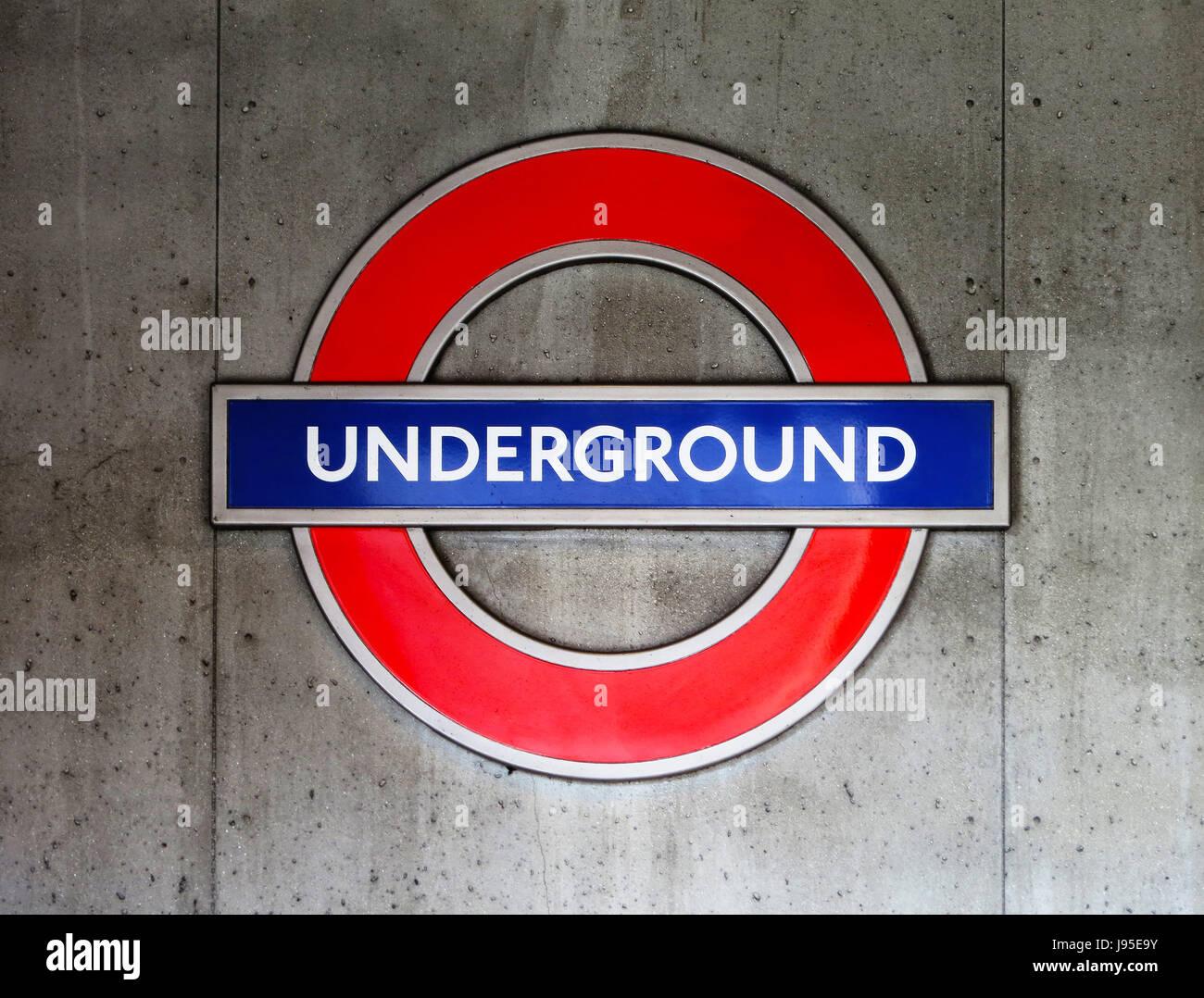 station, metro, london, england, tube, subway, sign, underground, pipe, - Stock Image