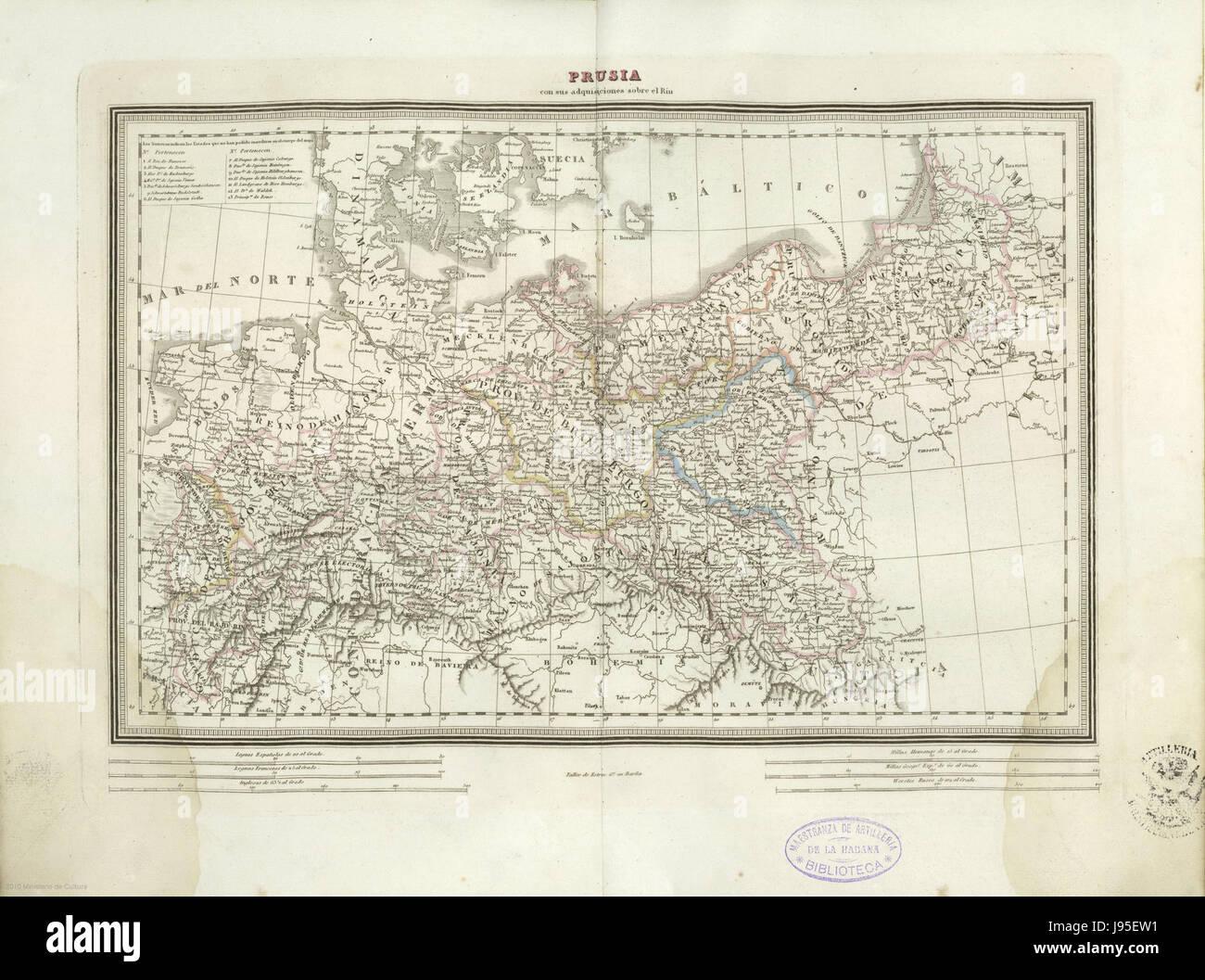 Prusia con sus adquisiciones sobre el Rin - Stock Image
