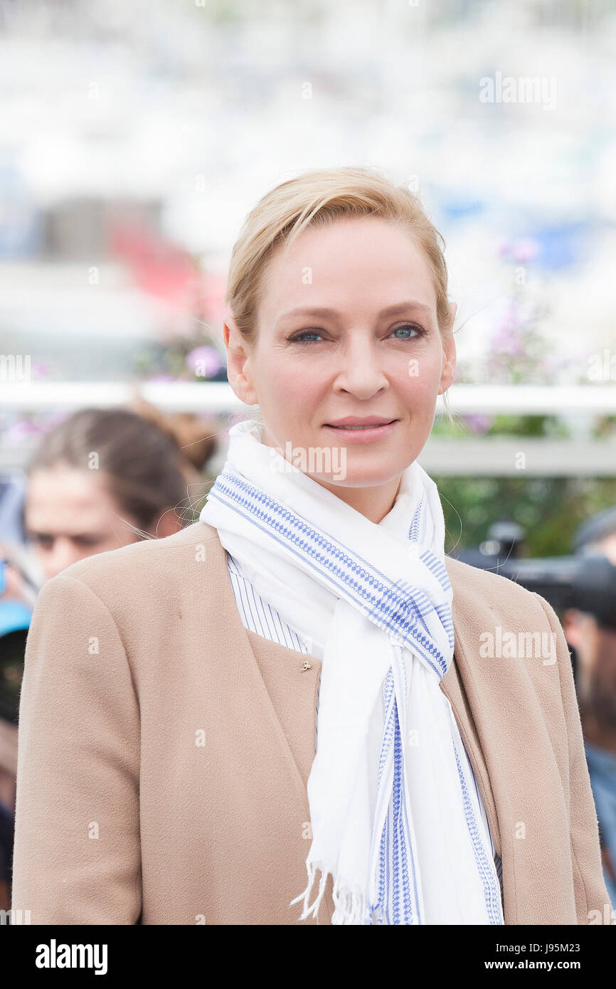 CANNES, FRANCE - MAY 18: Actress Uma Thurman attends Jury Un Certain Regard Photocall during the 70th annual Cannes - Stock Image
