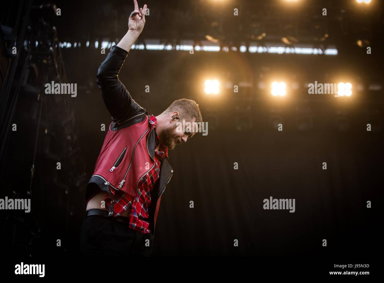 Landgraaf, Netherlands 4th june 2017 Imagine Dragons perform live at Pinkpop Festival 2017 © Roberto Finizio/ - Stock Image