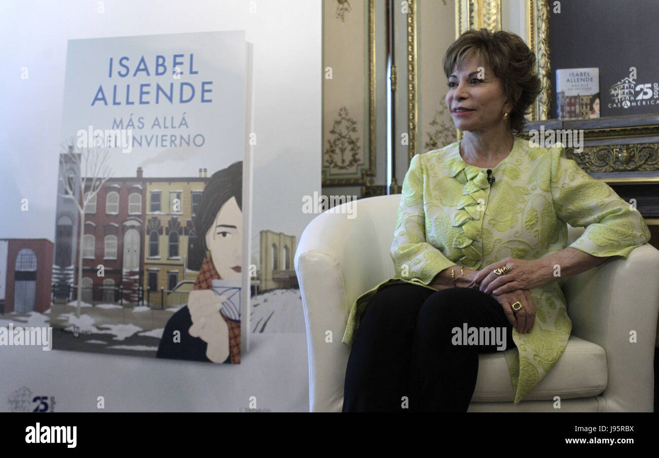 Chilean writer Isabel Allende poses during an interview with Spanish News Agency EFE held in Madrid, Spain on 05 - Stock Image