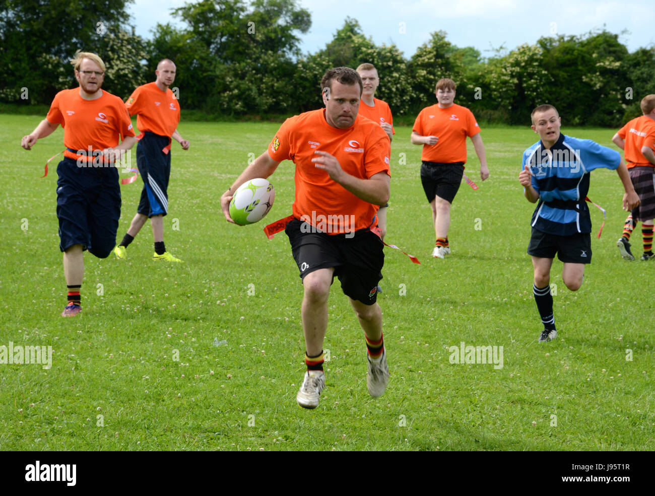 Southampton Hurricanes heading for a try, Witney, UK 3rd June, 2017. Teams of young people with educational needs - Stock Image