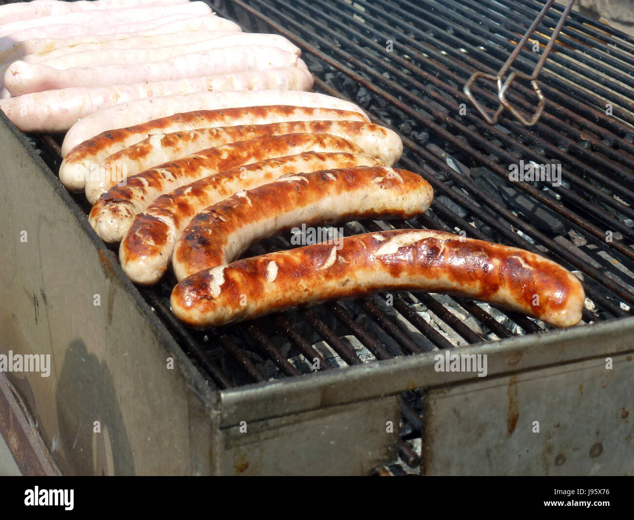 Thuringian rostbratwurst sausages on a charcoal grill in Freyburg, Germany, 1 May 2017.   - NO WIRE SERVICE - Photo: Stock Photo