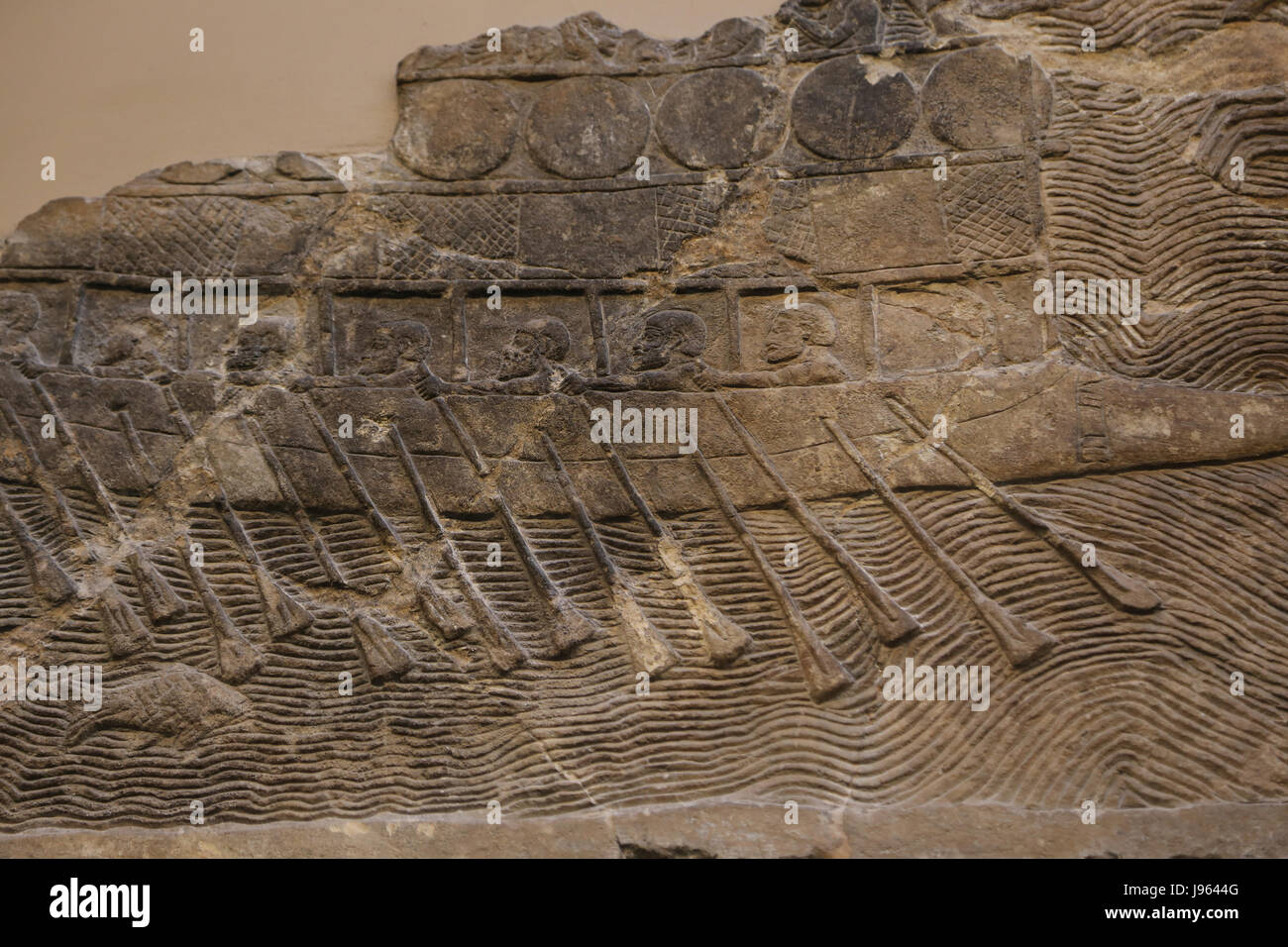 Warship. Built and manned by phoenicians employed by Sennacherib. Assyrian, 700-692 BC. Nineveh, South-West Palace. - Stock Image