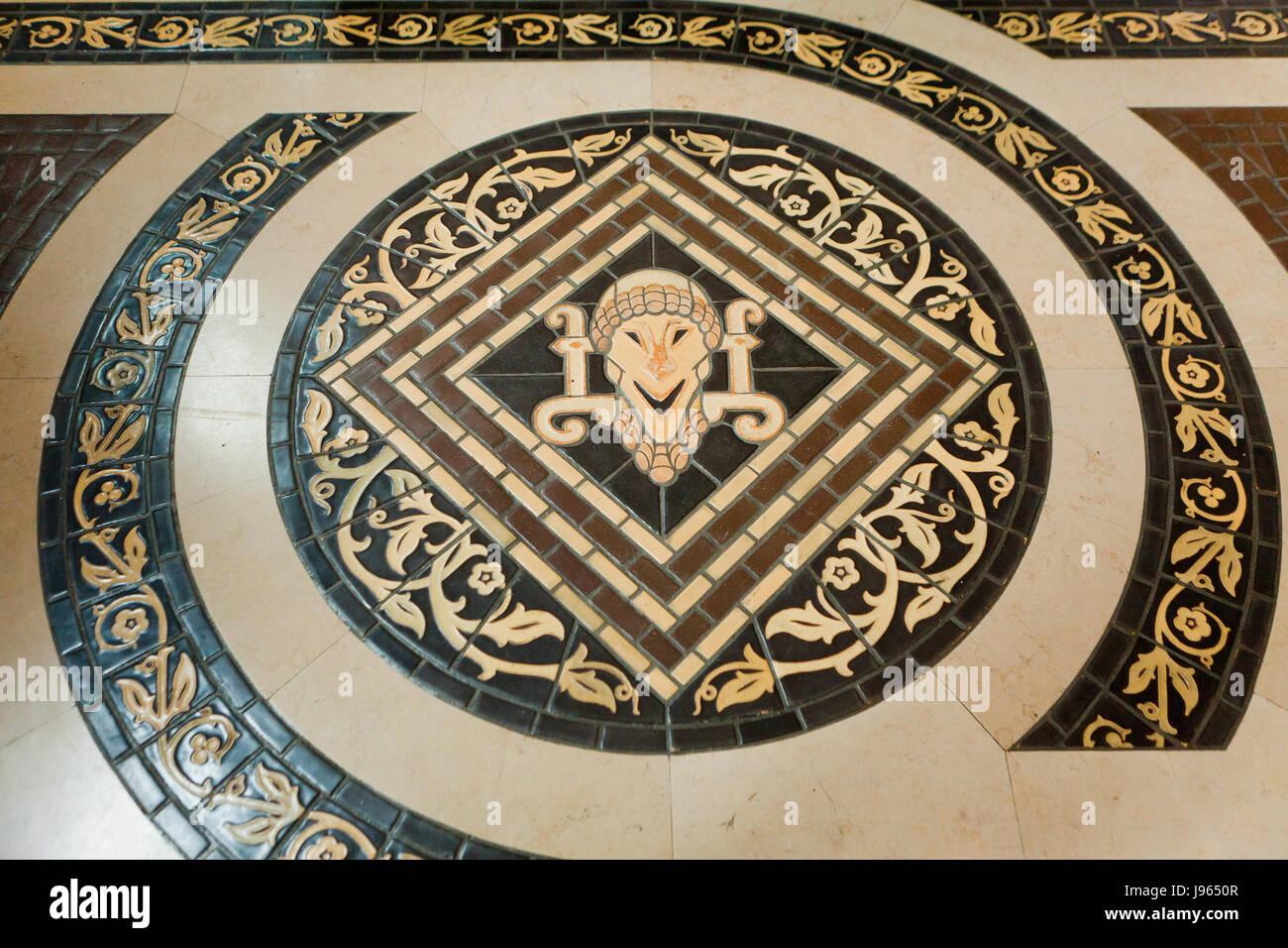 Mosaic terracotta floor tiles of the Great Hall, Folger Shakespeare Library (Folger Shakespeare Theatre) - Washington, - Stock Image
