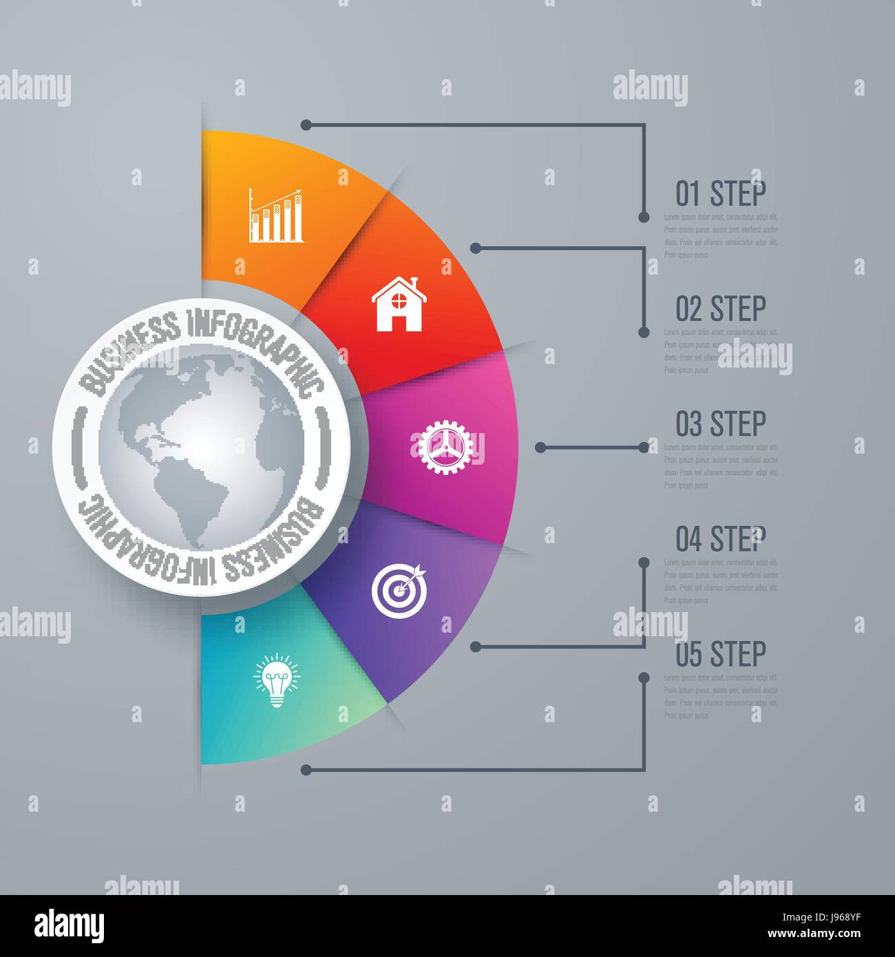 Design infographic template 5 steps - Stock Image