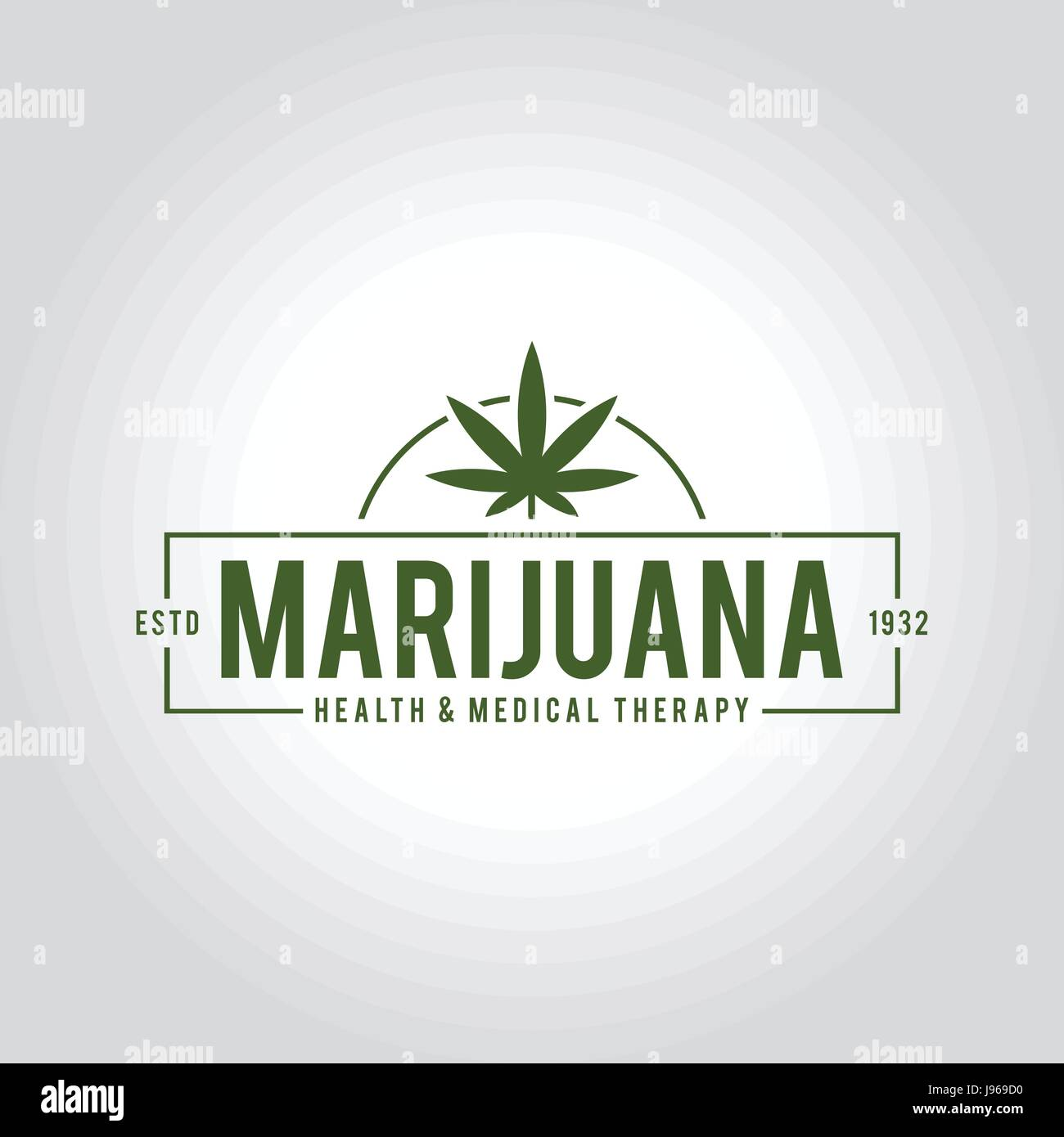 Vintage Marijuana label design, Cannabis Health and Medical therapy, vector illustration - Stock Vector
