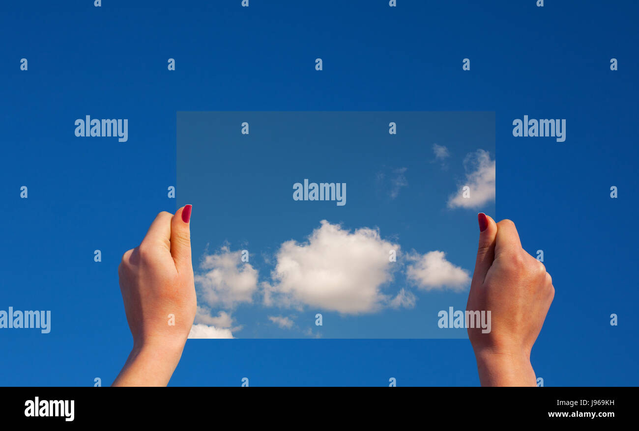 blue, hand, reach, finger, eco, cloud, hold, grab, arm, harmony, embrace, - Stock Image