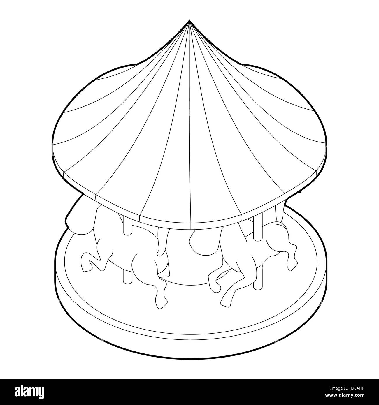 Carousel With Horses Icon Outline Style Stock Vector Image Art Alamy