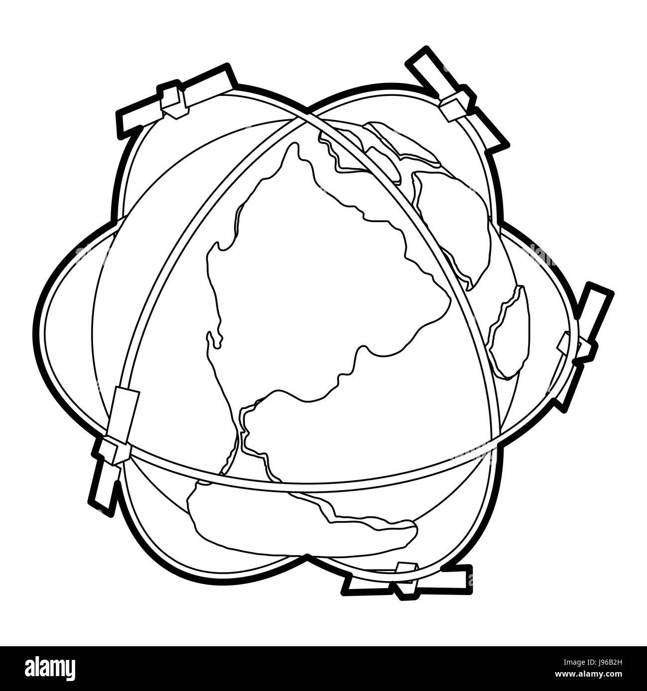 satellite orbit around earth stock photos satellite orbit around 1st Russian Sattelite satellite system around earth icon outline style stock image