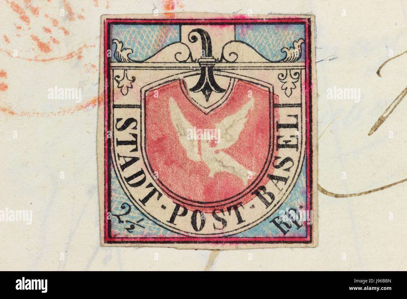 Forgery of the Basel Dove. The Basel Dove is a notable stamp issued by the Swiss canton of Basel and was the first - Stock Image
