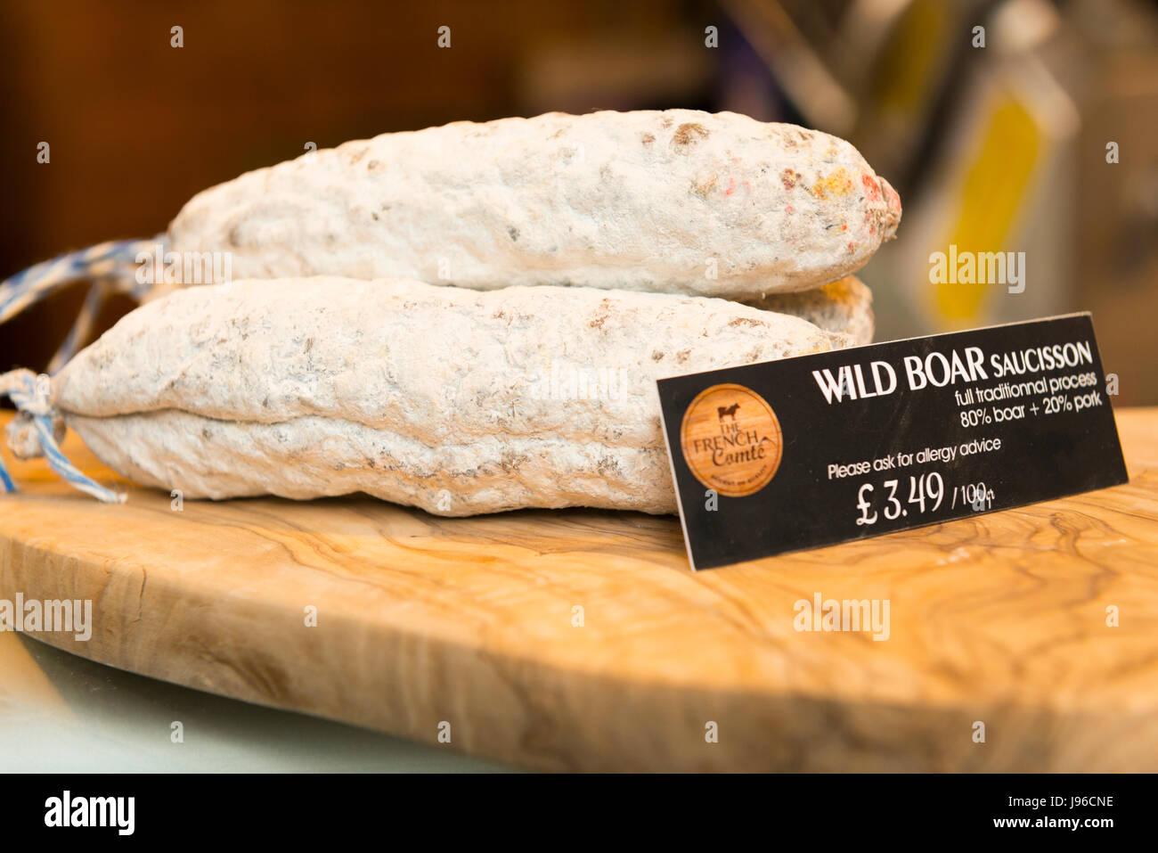 Borough Market London stylish upmarket food Wild Boar Saucisson Sausage charcuterie - Stock Image