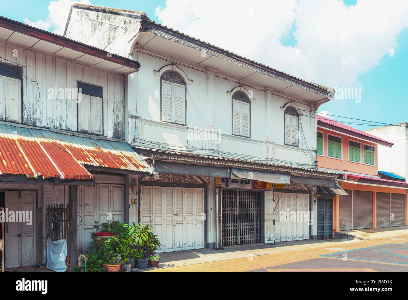 Classic Sino-Portuguese architectural style shophouse building at Ban Singha Tha, old historic area of Yasothon Stock Photo