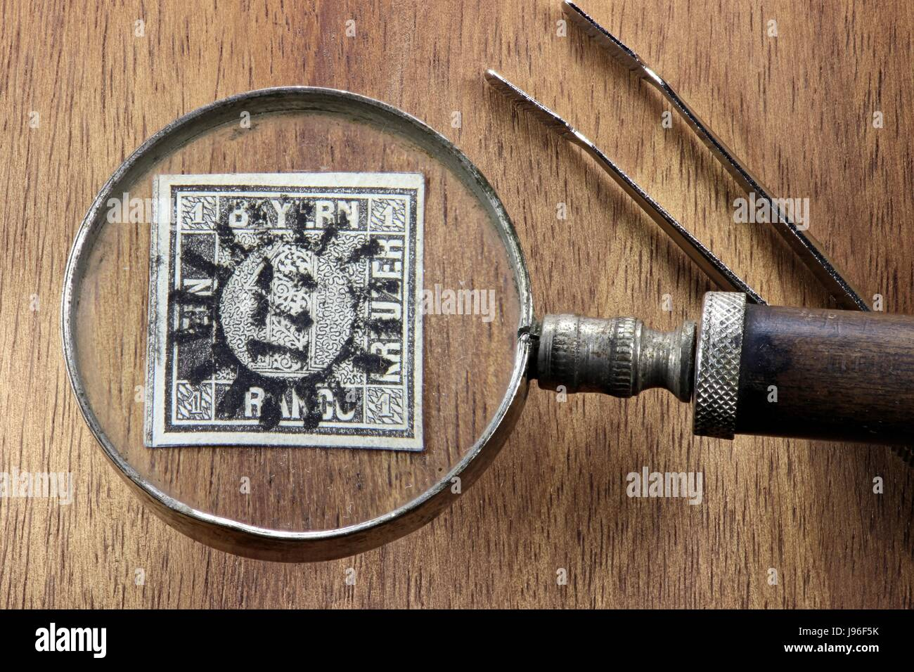one kreuzer black, first German postage stamp issued in the Kingdom of Bavaria Stock Photo