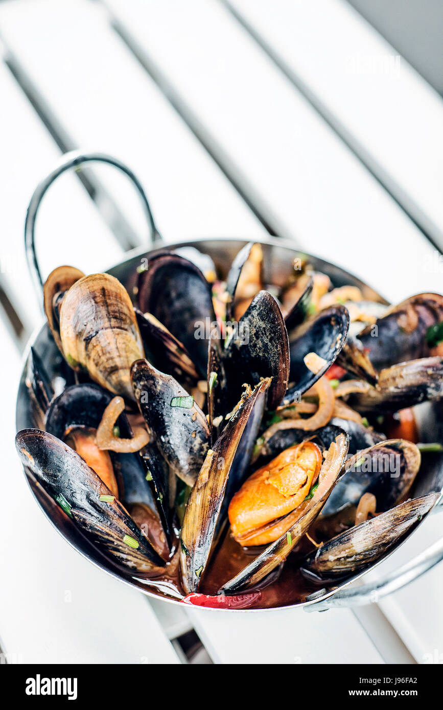 stewed fresh mussels in spicy garlic wine seafood sauce tapas - Stock Image