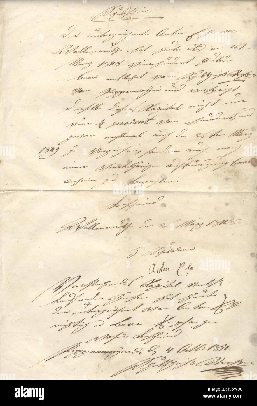 Schuldschein Wallenreute 1848 Stock Photo