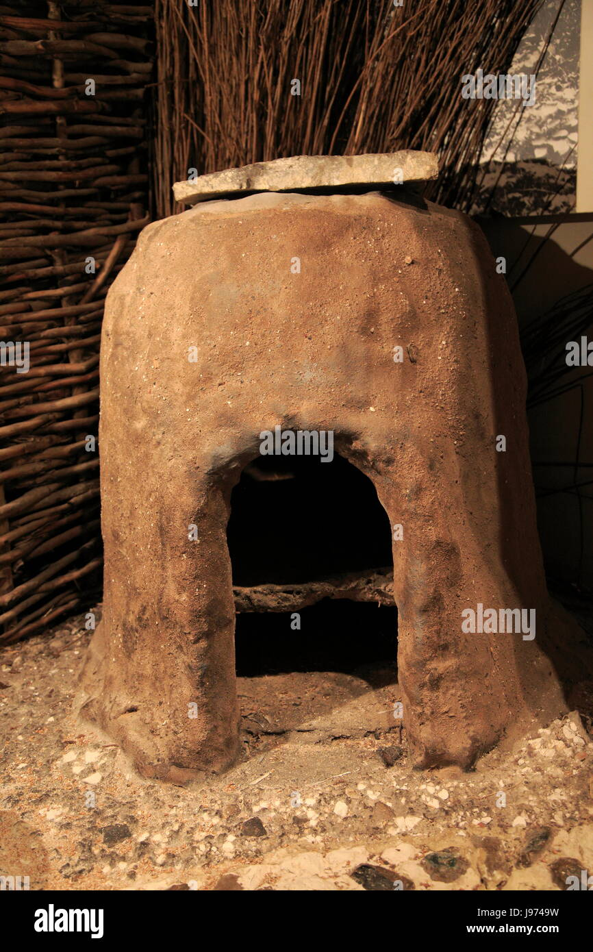 Bread oven in Iron Age museum, Andover, Hampshire, England, UK - Stock Image