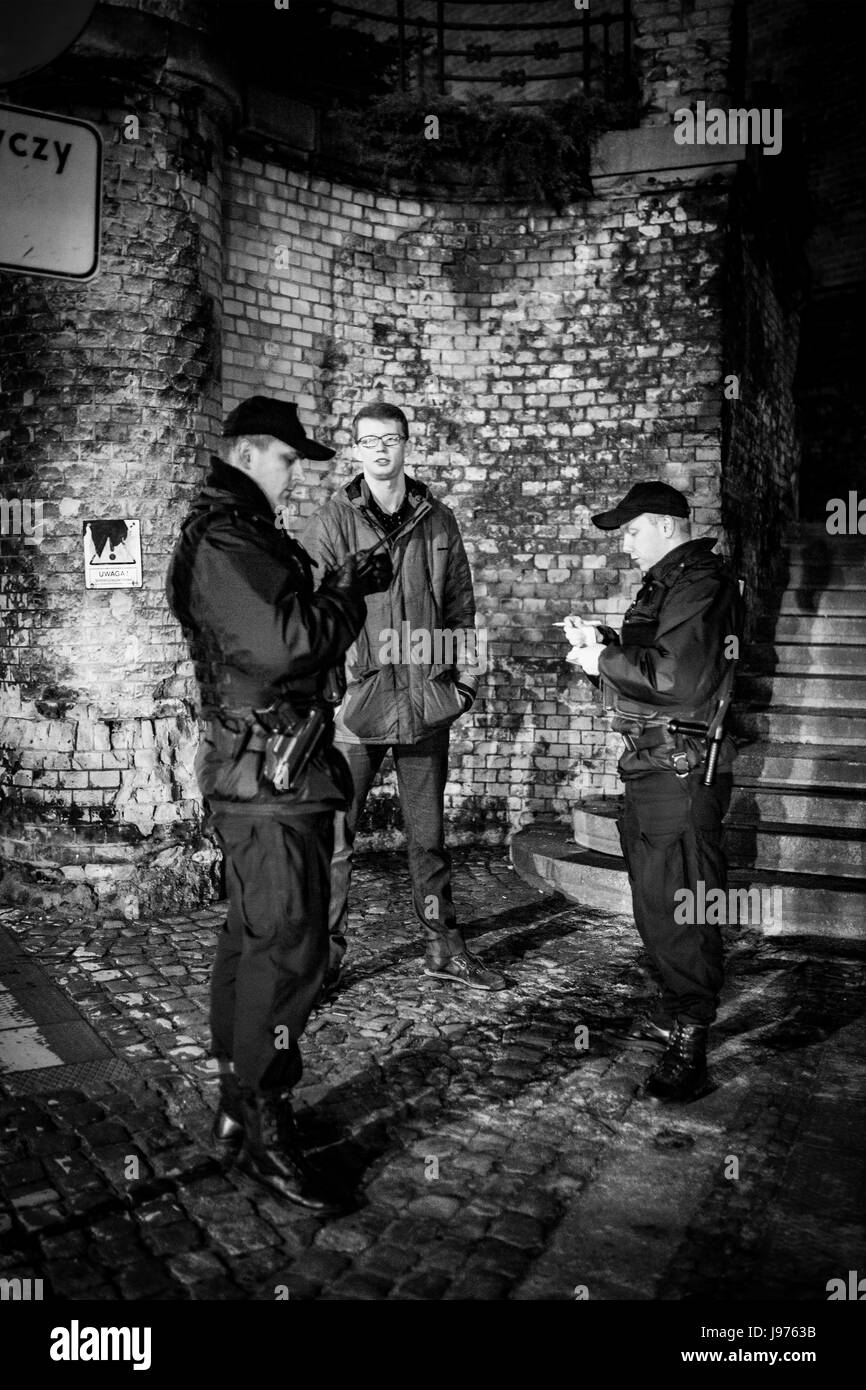 Polish police, officers on duty during demonstrations against authority in Poland, archival photos. - Stock Image
