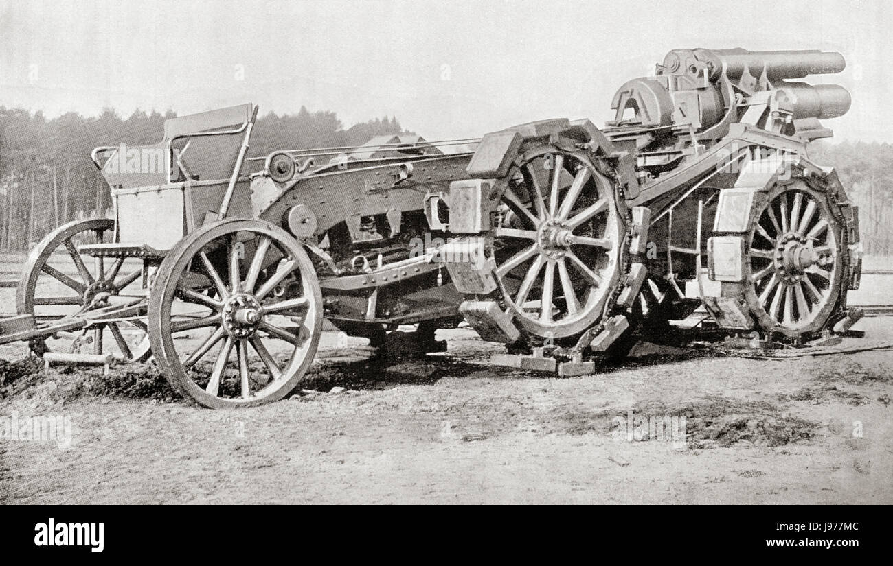A German siege gun,  a heavy howitzer gun developed in Germany at the start of World War One.  From Hutchinson's - Stock Image