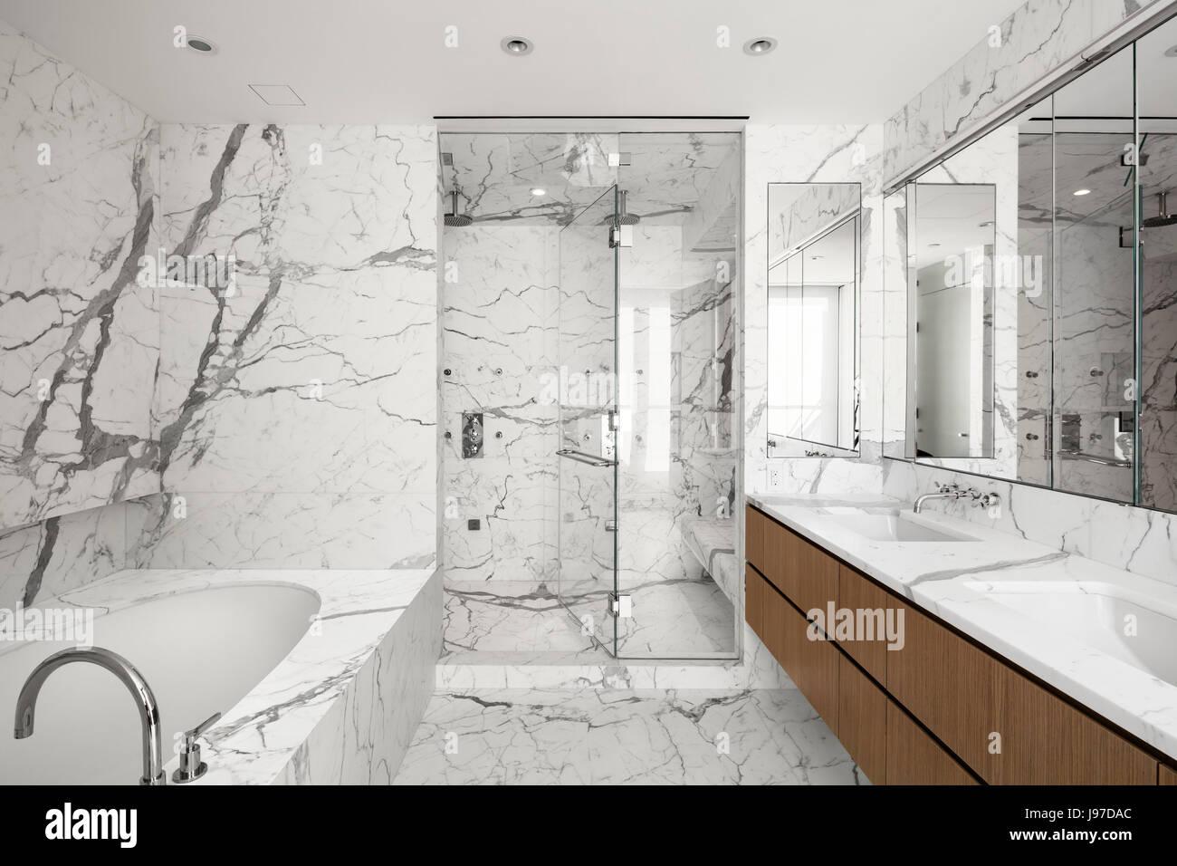 Interior Of Marbleslab Master Bathroom In An Upper Floor Apartment - Marble slab bathroom