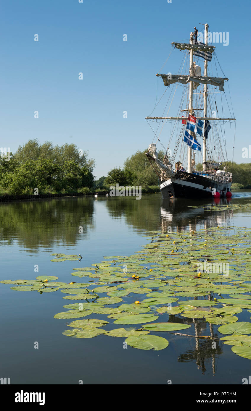 Tall Ship on the Sharpness Canal in Gloucestershire Stock Photo