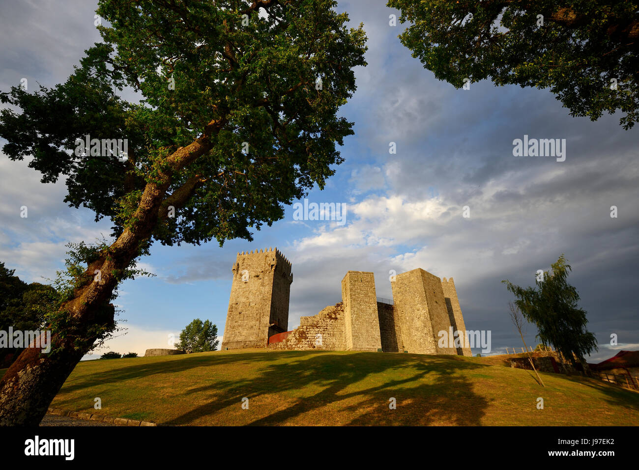 The medieval castle of Montalegre at sunset, dating back to the 13th century. Tras os Montes, Portugal Stock Photo