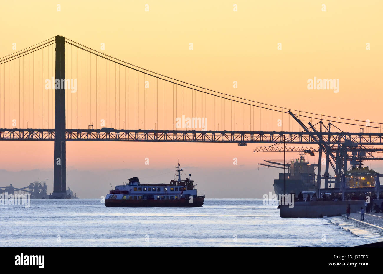 The Tagus river at sunset. Lisbon, Portugal Stock Photo