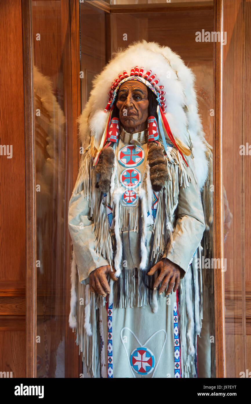 American Indian Chief in headdress - Stock Image