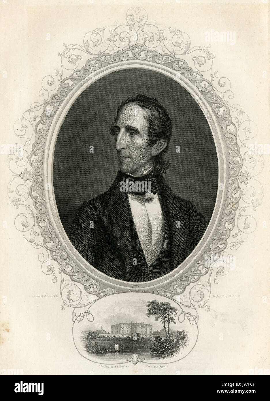 Antique c1860 engraving, John Tyler. John Tyler (1790-1862) was the tenth President of the United States (1841Ð45). - Stock Image