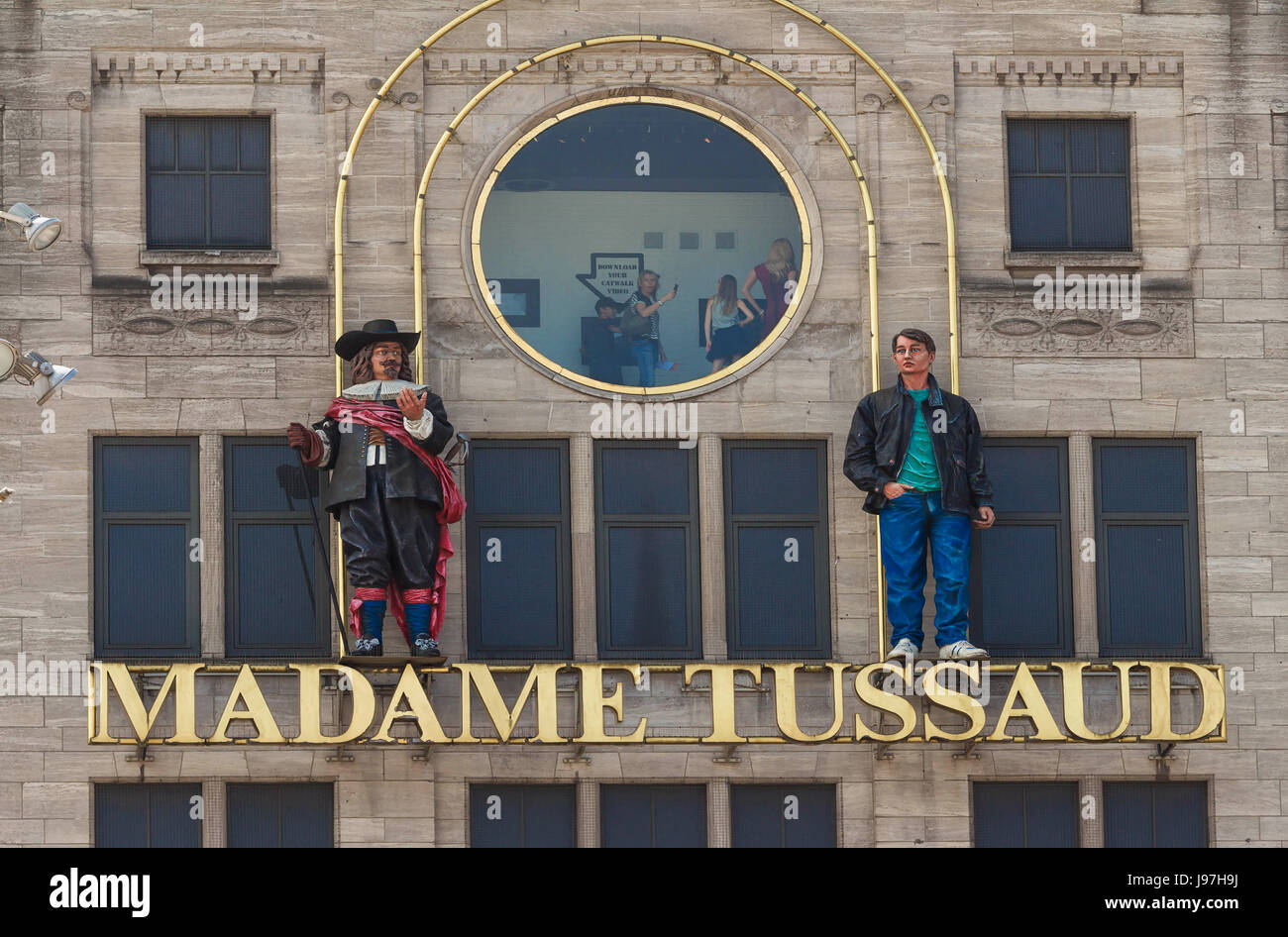 The sign of Madame Tussaud wax museum in Amsterdam, Netherlands. - Stock Image