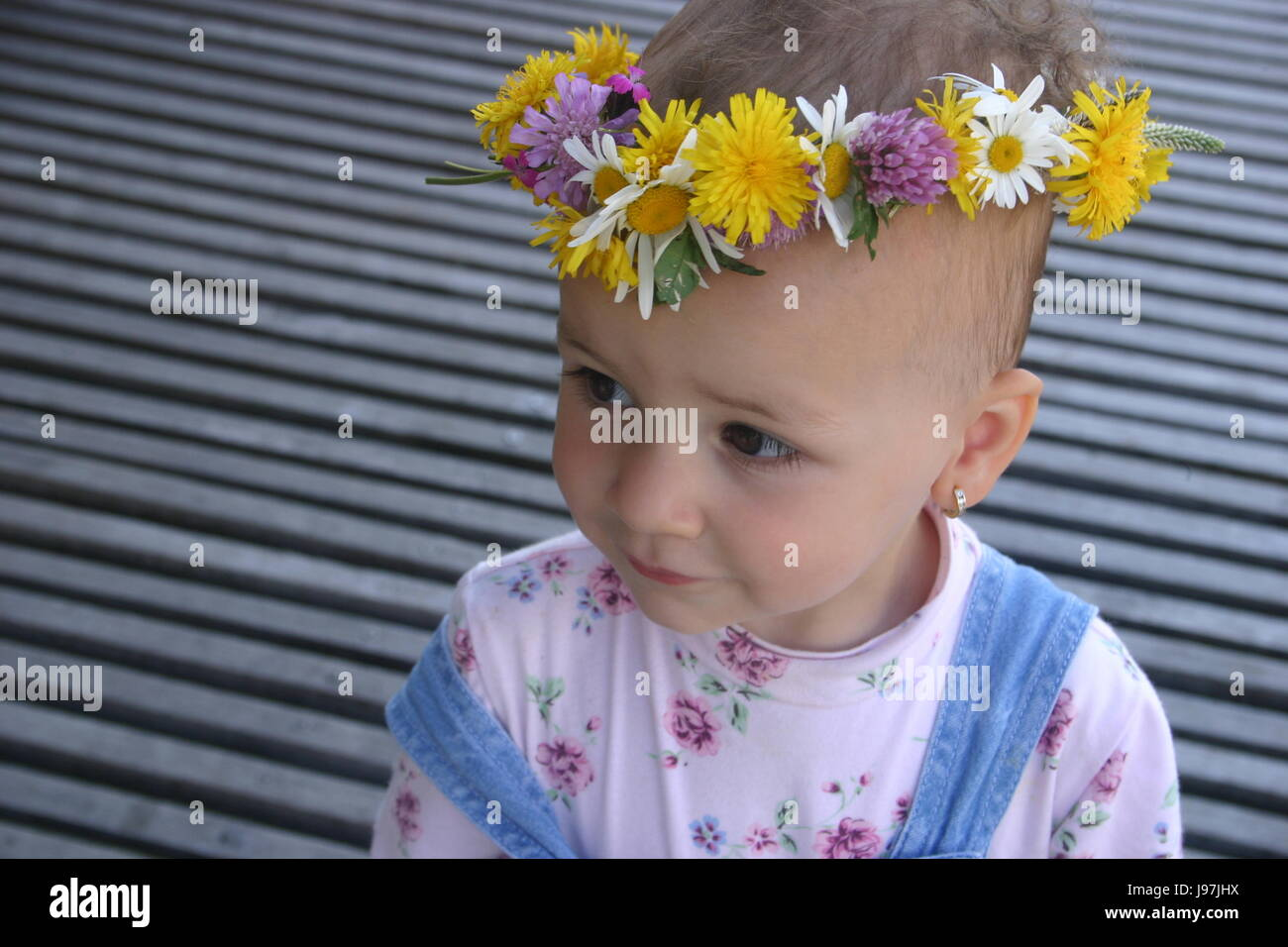 Portrait of little girl wearing a natural flower crown stock photo portrait of little girl wearing a natural flower crown izmirmasajfo