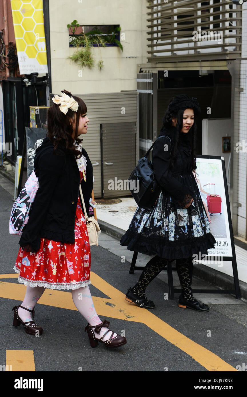 Young Japanese crowed in Harajuku, Tokyo. - Stock Image