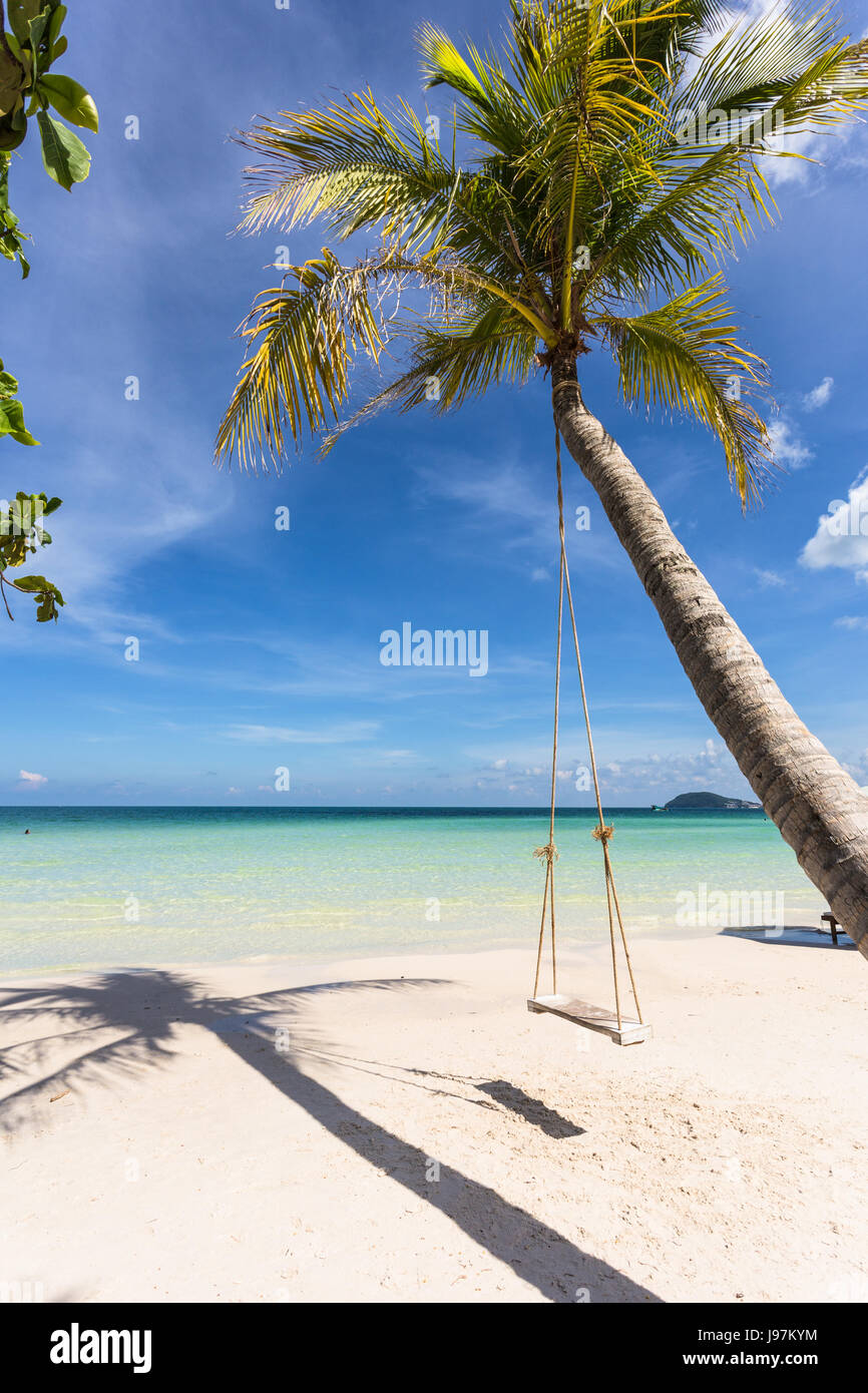 Swing attached to a palm tree in the idyllic Bai Sao beach in Phu Quoc island in Vietnam in the Gulf of Thailand. - Stock Image