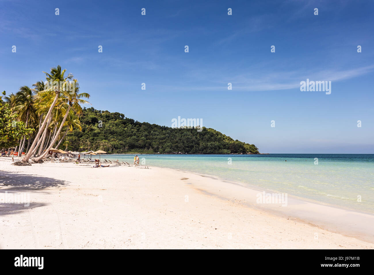 Stunning white sand beach name Bai Sao beach in the Phu Quoc island in south Vietnam in the Gulf of Thailand. - Stock Image