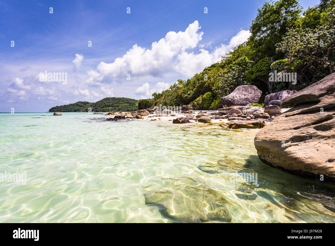 Idyllic Bai Sao beach, which means white sand, in the popular Phu Quoc island in the Gulf of Thailand in south Vietnam - Stock Image